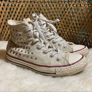 Converse White Studded High Top Sneakers